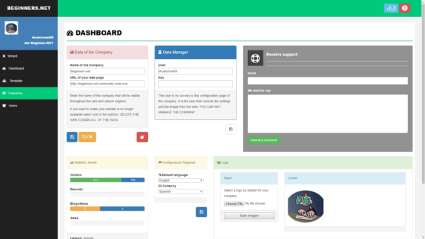 New template for admin the web page